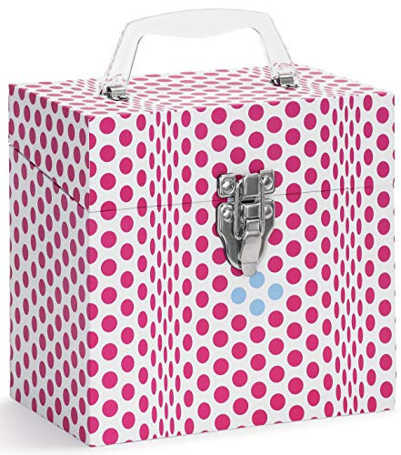 Vinyl Record Storage CASE. 45 Records Storage. 45-RPM 7 inch Record case. Holds Up to 50 45rpm. Vinyl Record Holder. Vintage Design Record Carrying Case. Folding DOTS Pink.