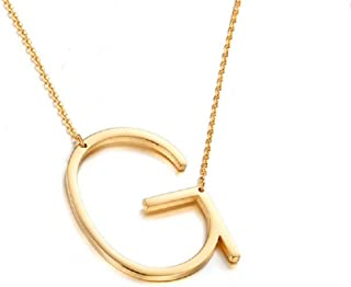 Gold Tone Sideways Initial Necklace Gold Pendant Necklace Love Letter Necklace for Women Girls Large Letters A - Z for Mother's Day