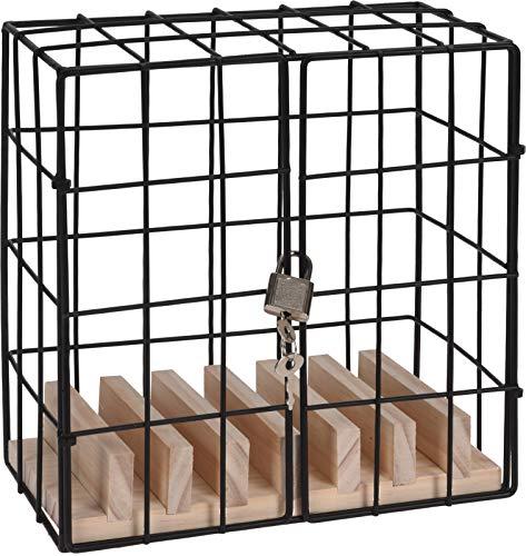 Caja para teléfono móvil de metal y madera, incluye llave y candado, el regalo perfecto para amigos y familiares