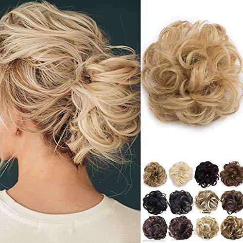 Haarteil Dutt Haargummi Synthetik Haare Extensions Gewellt günstig Haarverlängerung für Haarknoten Gummiband Hochsteckfrisuren Haarband Hellgoldblond/Mittelblond