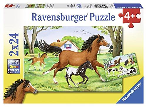 Ravensburger Kinderpuzzle - 08882 Welt der Pferde - Puzzle für Kinder ab 4 Jahren, mit 2x24 Teilen