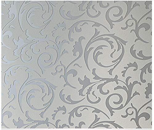Decoración de papel pintado pared minimalista moderna del gris de plata de ganchillo flor no tejidaPara Office familiar Sala de estar del hotel