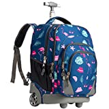WEISHENGDA 18 inches Wheeled Rolling Backpack Multi-Compartment College Books Laptop Bag, Flamingos.