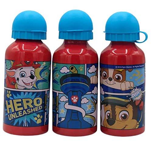 ML Una Botella de Agua de Aluminio para niños y niñas, cantimplora de Aluminio Patrulla Canina a Prueba de Fugas sin BPA para Levar a la Escuela y Deportes el Termo 400ml roja