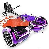 MEGA MOTION Hoverboard Kart, Overboard 6,9 Pouces Équipé de Haut-Parleur Bluetooth et Lumières LED avec Hoverkart Cadeau pour Adultes et Enfants (Violet+KT Noir Carbone)