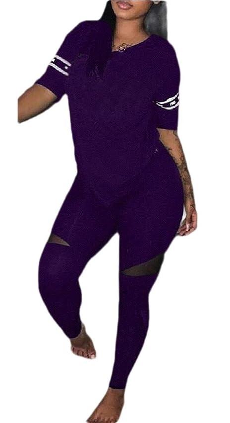 本体ボート普及Womens 2 Piece Sports Outfit Set Shirt Bodycon Pants Joggers Tracksuit Set