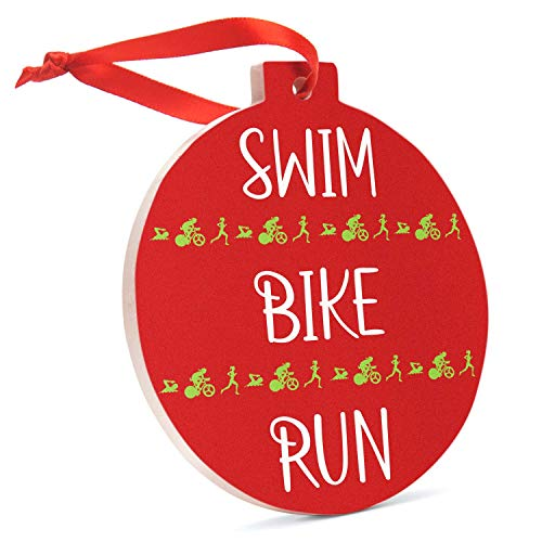 Triathlon Ceramic Ornament | Swim Bike Run Christmas Ornament