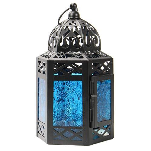 Linterna azul marroquí   Portavelas Light Tea   Lámpara decorativa de pie   Linterna colgante estilo vintage   Lámpara de estilo oriental   M&W