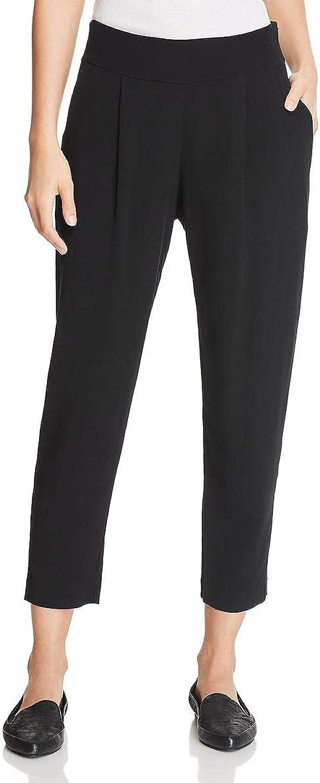 Eileen Fisher Womens Tencel Slouchy Cropped Pants Black S
