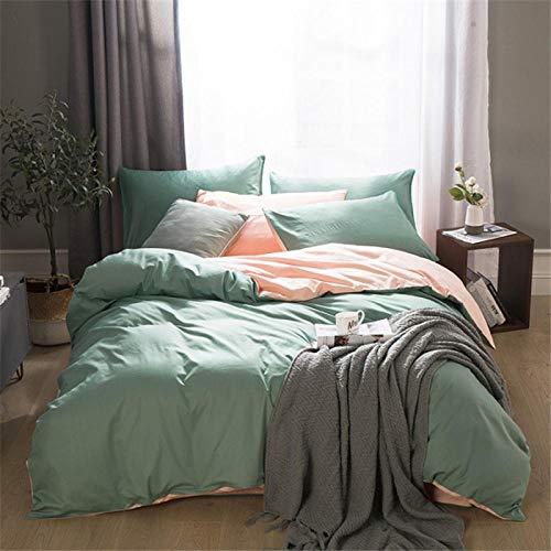 TAYIBO Bettbezug Kopfkissenbezug,Vierteiliger Baumwollanzug, Bettwäsche, einfarbig geschliffen-I_200 * 230 + 245 * 250