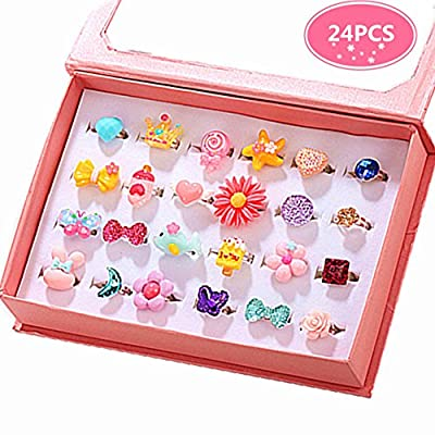 PinkSheep Little Girl Jewel Rings in Box, Adjustable, No Duplication, Girl Pretend Play and Dress Up Rings