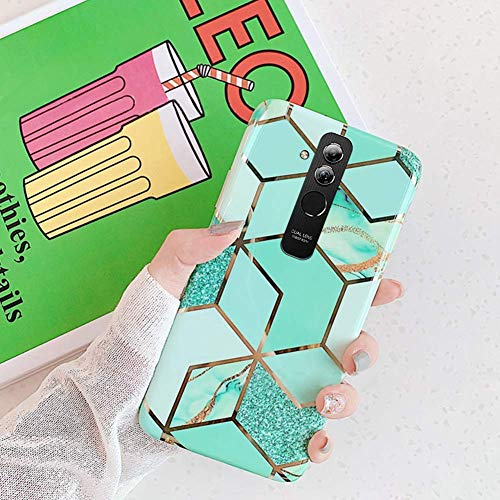 Saceebe Compatible avec Huawei Mate 20 Lite Coque Silicone Motif Marbre Housse Etui de Protection Bumper Ultra Fine Bling TPU Silicone Souple Mince Léger Case Anti-Rayures Antichoc,Vert