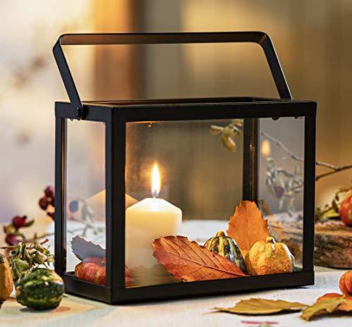 """Laterne """"Purist"""", Windlicht aus Metall mit Glas & Henkel, schwarz, Herbst- & Winter-Deko, Gartenlaterne"""