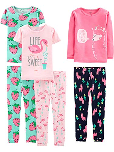 Simple Joys by Carter's 6-Piece Snug Fit Cotton Infant-and-Toddler-Pajama-Sets, Flamingo/Erdbeeren/Lama, 7 Jahre, 6er-Pack