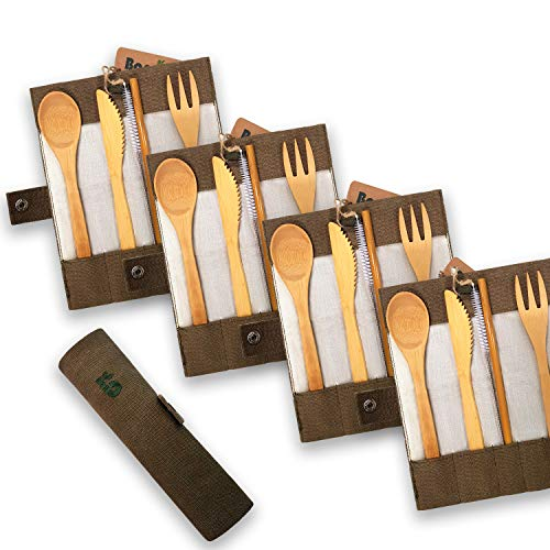 Bambaw Bamboo Cutlery Set   Travel Cutlery Set   Eco Friendly Flatware Set   Knife, Fork, Spoon and Straw  Wooden Cutlery Set   Camping Cutlery Set with Travel Pouch  Olive  7.9 Inch
