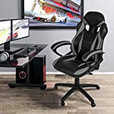 Merax Ergonomic Gaming Chair Racing Style Computer Desk Chair PU Leather Adjustable Executive Office Chair High Back Swivel Chair for Home and Office (Grey)