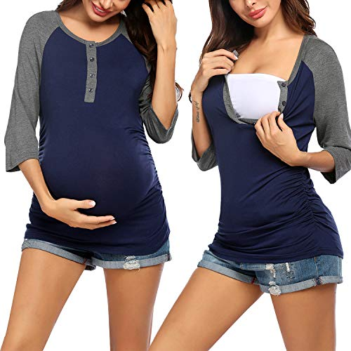 Ekouaer Women's Maternity Clothes Comfy Long Sleeves Breastfeeding Shirts and Nursing Tops (Navy Blue Grey M)