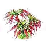 1 UNIDS / 32CM Aquarium de plástico Artificial Green Palm Plant Césped Aquarium Aquarium Accessories Productos de Acuario Plantas para acuarios (Color : Red, Size : M)