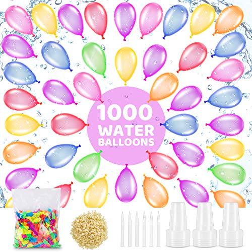 Vimzone Wasserbomben Wasser Ballons 1000pcs, Selbstdichtende Wasserbomben Set Mehrfarbige Luftballons mit 4 Füllstoffen und 1000 Gummibändern Summer Splash Fun Water Fight Game für Kinder Erwachsene