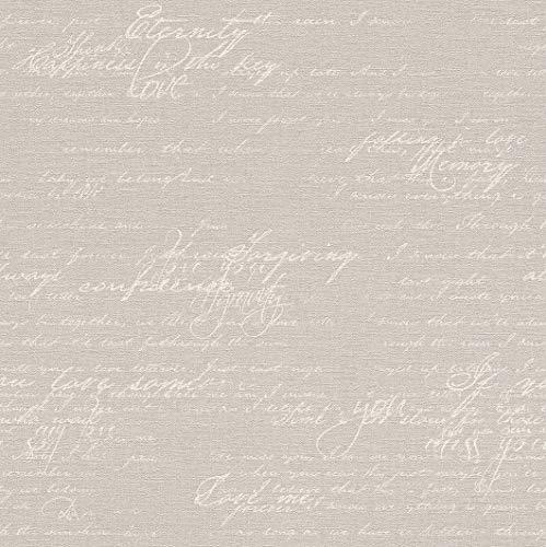 rasch Tapete 449556 aus der Kollektion Florentine II – Vliestapete in Braun mit beiger, kalligraphischer Schrift im Vintage Stil – 10,05m x 53cm (L x B)