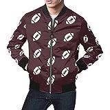 INTERESTPRINT Men's Long Sleeve Zip up Classic Jacket Rugby Ball American Football Chocolate 4XL