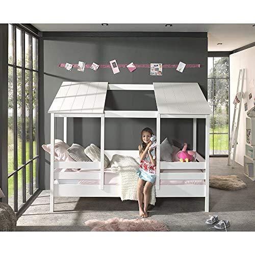 Lomadox Kinderbett Hausbett mit 90 x 200 cm Liegefläche