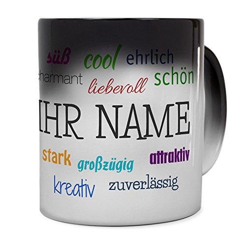 printplanet® Zaubertasse mit Namen personalisiert - Magic Mug - Motiv Positive Eigenschaften individuell gestalten - Zauberbecher, magische Kaffeetasse
