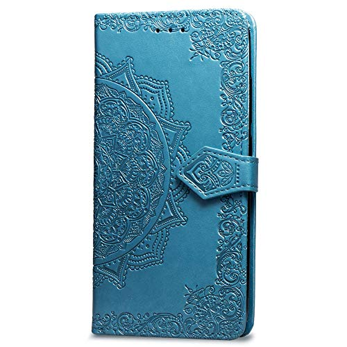 Oihxse Coque Compatible pour Huawei P Smart Plus 2019/Enjoy 9s Cuir PU Housse Magnétique Portefeuille Flip avec Portable Stand Support et Carte de Crédit Slot Motif Mandala Protection Etui(Bleu)