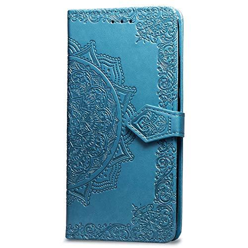Oihxse Coque Compatible pour Huawei P30 Lite/NOVA4E Cuir PU Housse Magnétique Portefeuille Flip avec Portable Stand Support et Carte de Crédit Slot Motif Mandala Protection Etui(Bleu)