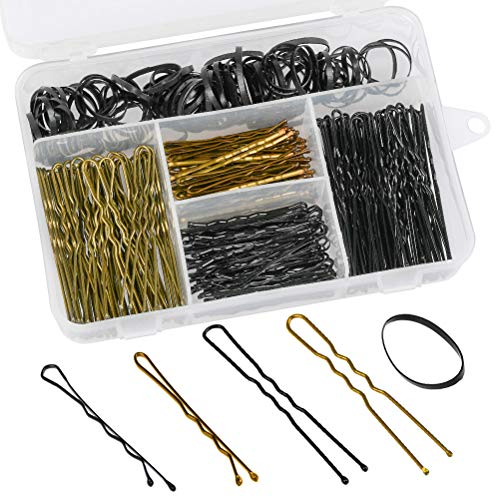 FOCCTS 300 piezas de horquillas y bandas para el pelo, incluye 200 horquillas en forma de...