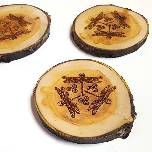 Celtic Dragonfly Rustic Wood Slice Coaster Set