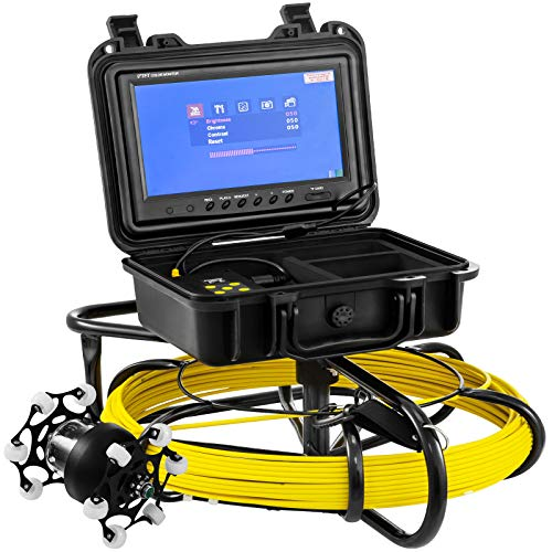 Mophorn Sewer Camera 100ft Pipe Pipeline Inspection Camera 9 Inch Color LCD Monitor Pipe Inspection Equipment IP68 Borescope Endoscope Waterproof (Camera Size Include Wheel:145mm x 93mm)