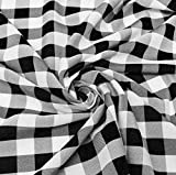 60' Wide Checkered Gingham Buffalo Check Polyester Poplin Fabric - Black & White - 10 Yards