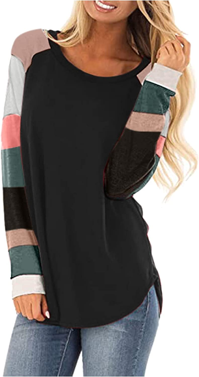 Fankle Womens Comfy Twist Knot Tunics Shirts Tops, Casual Color Block Long Sleeve Tee Round Neck Loose Fit Blouses Tunics