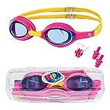 KidSwim - Gafas de natación para niños de 4 a 12 años, sin fugas, resistentes al agua, lentes antivaho y correa de silicona suave