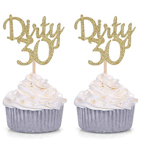24 Counts Gold Glitter Dirty 30 Cupcake Toppers/Age Thirty Happy 30th Birthday Party Decorations Supplies