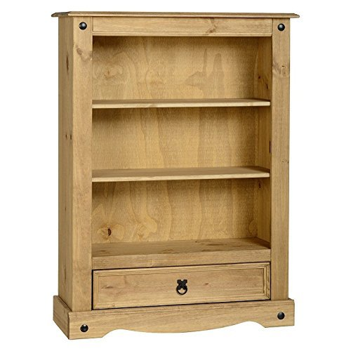 Corona - Libreria in legno di pino massello, classica e pratica, aspetto rustico in stile etnico, con 2 mensole e 1 cassetto per riporre ogni tipo di oggetti e libri