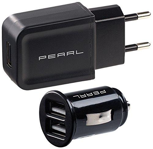 reVolt 12V Stecker: USB-Ladeset mit 230-V-Netzteil (2 A) & 2-Port-Kfz-Ladegerät (2,1 A) (USB Steckdosen)