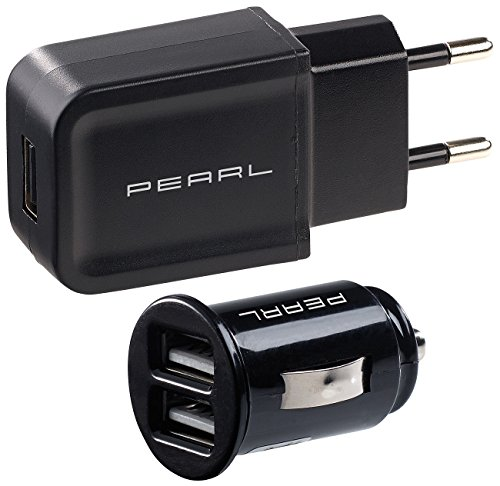 reVolt 12V Stecker: USB-Ladeset mit 230-V-Netzteil (2 A) & 2-Port-Kfz-Ladegerät (2,1 A) (USB Charger)
