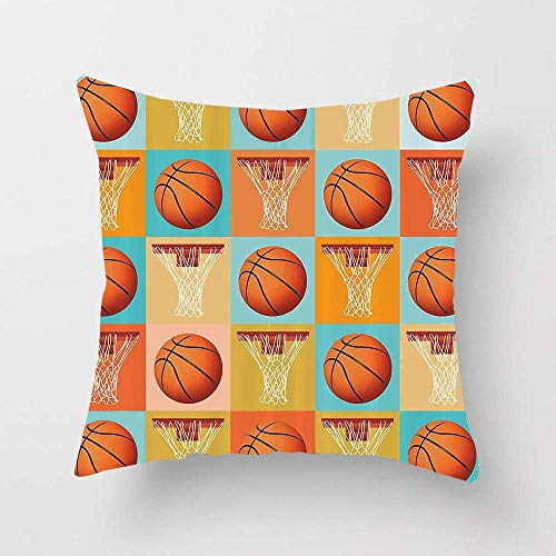 Patrón y Equipo de Baloncesto Tema de la NBA Resumen Ilustración marcada Imprimir Funda de Almohada Cuadrada Funda de cojín para sofá Dormitorio Coche