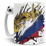Tassendruck Flaggen-Tasse Fussballer -Kolumbien - Fahne/Länderfarbe/WM 2018/Weltmeisterschaft/Cup/Tor/Fussball-Tasse - Qualität Made in Germany