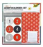 folia 9395 - Adventskalender Set Style, mit 24 lebensmittelechten Papiertüten je 10 x 17,5 x 5,5 cm groß, 7 m Satinband und Zahlensticker