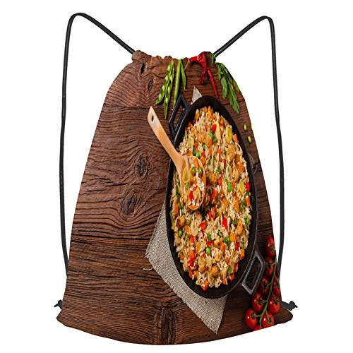 Impermeable Bolsa de Cuerdas Saco de Gimnasio arroz frito pollo preparado servido wok Deporte Mochila para Playa Viaje Natación
