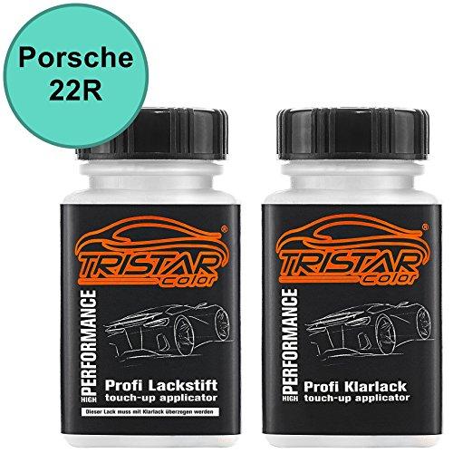 TRISTARcolor Autolack Lackstift Set für Porsche 22R Mintgrün Basislack Klarlack je 50ml