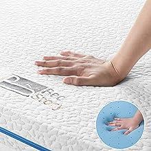 BedStory Topper Viscoelastico Gel Topper Colchón 135x190x6cm Sobrecolchón Antiácaros y Transpirable con Funda Desmontable y Lavable
