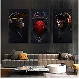 YaShengZhuangShi Leinwand druckt lustige denkende AFFE mit Kopfhörer Leinwand Öl Wandkunst Poster und Druck Tier für Wohnzimmer Dekor 3x40x70cm kein Rahmen