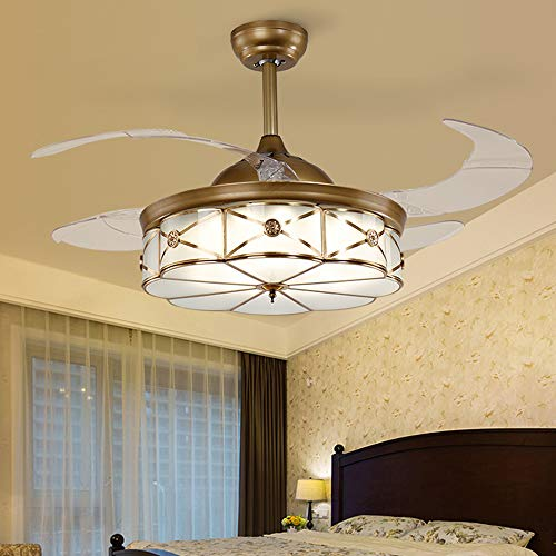 Huston Fan Retro Fandelier Retractable Ceiling Fan with Light Indoor LED Remote Chandelier Fan LED Three Color Change,Three Down Rod,Ceiling Lamp and Fan (42 inch, Copper)