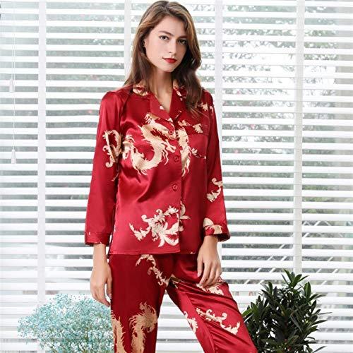 Añadir Impuestos Pulgadas De Otoño Primavera Seda Pijamas Pijamas Impresión Hembra Pijamas Chino Suelto Cuello En V Manga Larga Pijamas yangain (Color : Red, Size : X-Large)
