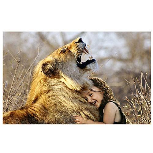 SHAZHU Quadri Dipinto Ad Olio di Animali Selvatici, Leone E Ragazza Che Si Abbracciano, Foto di Arte della Parete, Decorazioni per La Casa, Poster Africano40x60cm