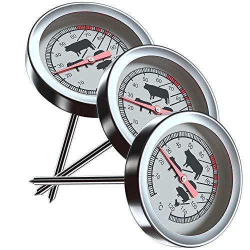 Silverback 3X Grillthermometer - Fleisch Temperaturmesser Für Grill - Smoker - Steak Thermometer mit Analog Temperaturfühler - Fleischthermometer